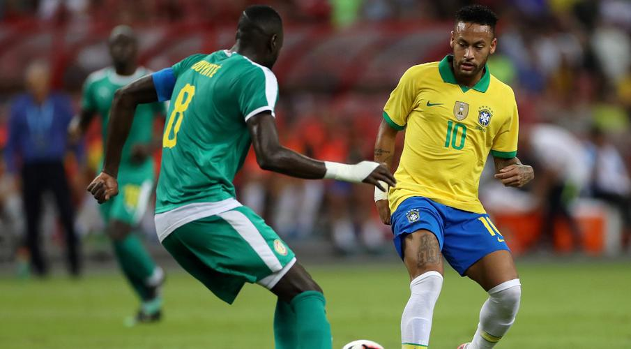 Image result for Neymar becomes youngest to 100 Brazil caps in friendly draw
