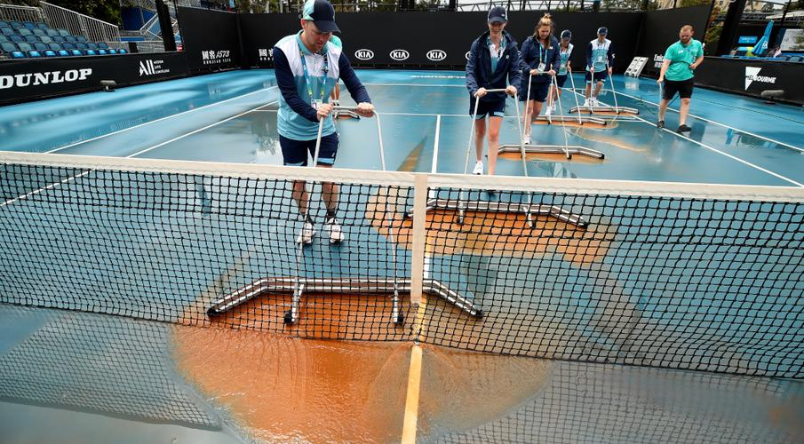 Mud stops play: after smog, wind, rain, new challenge for Aussie Open